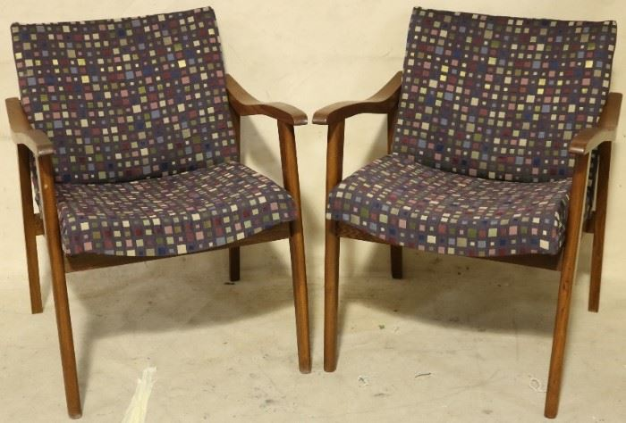 Pair multi color arm chairs