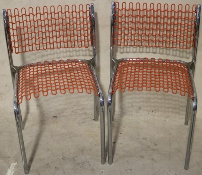 David Rowland spring chairs in orange