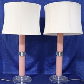 Pair pink lucite table lamps