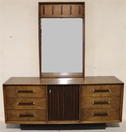 Lane rosewood inlaid dresser with mirror