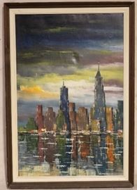 Cityscape art signed by artist