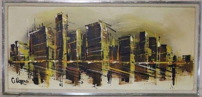 Vintage cityscape art signed by artist