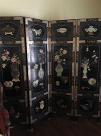 4 panel screen with semi precious stone, jade.