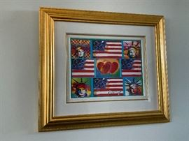 Peter Max Patriotic Series: 4 Liberties, 4 Flags and 2 Hearts. Comes with appraisal.