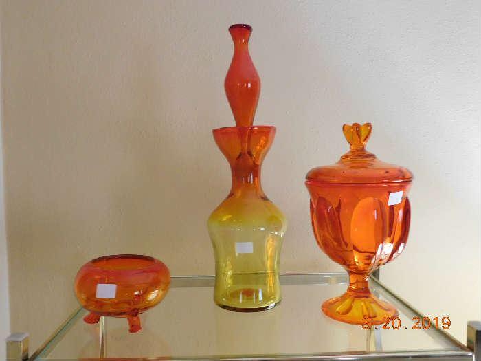 Tangerine art glass.