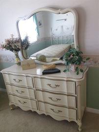 "French Provincial 6-drawer Dresser/Mirror, 54"" X 18"""
