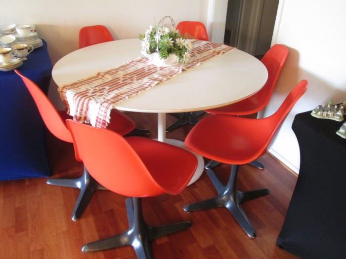 "MCM Vintage 48"" Tulip Table/6-Chairs by Maurice Burke, Inc., Dallas, TX.  Take a Trip Down ""Space Age"" Lane..."