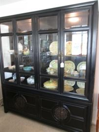 "Asian-Style Double Wide Ebony China Cabinet by Mayo Furniture Co., 72"" X 18"" X 80"""