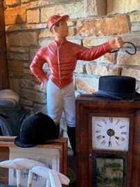 "Large cast iron lawn jockey - 33"" high"