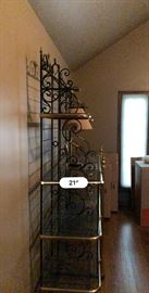 Stunning vintage wrought iron bakers rack with brass trim and glass shelves .   made in Paris France