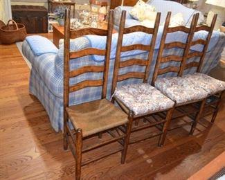 rush bottom ladder-back chairs