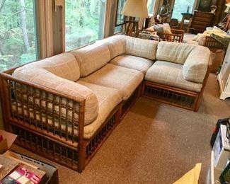 "mid-century Heywood Wakefield rattan ""L"" shaped sectional sofa"