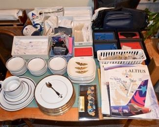 Delta Airlines collectibles - dinnerware, flatware, wings, pins, books, bags, etc.; also US Air plates