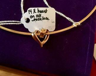 14k gold heart slider on 10k necklace