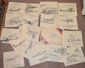 Delta Airlines printed sketches (artist Fred Takasumi) presented by Boeing commemorating Delta's 50th Anniversary 1929-1979 in aviation.  Super Christmas gift!!!