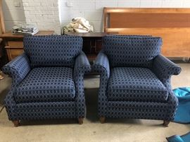Pair Thomasville navy wing chairs
