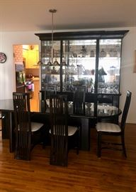 Vintage black lacquer Dining room set with table, six chairs & china cabinet