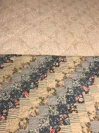 Vintage quilt and hand crocheted bedspread