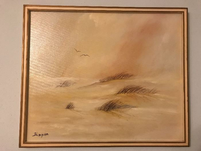 Original Oil Painting Beach Scape signed Thompson