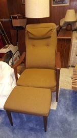 Mid century Chair and Ottoman