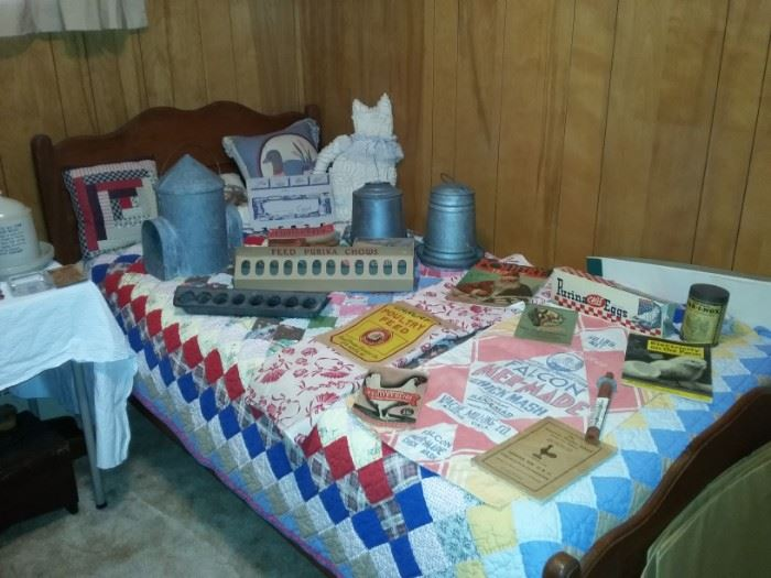 Collection of Chicken Feeders, Waterers, and Collectibles