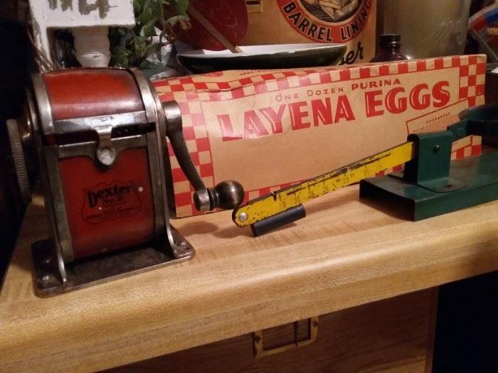 Vintage Pencil Sharpener, Egg Cartons