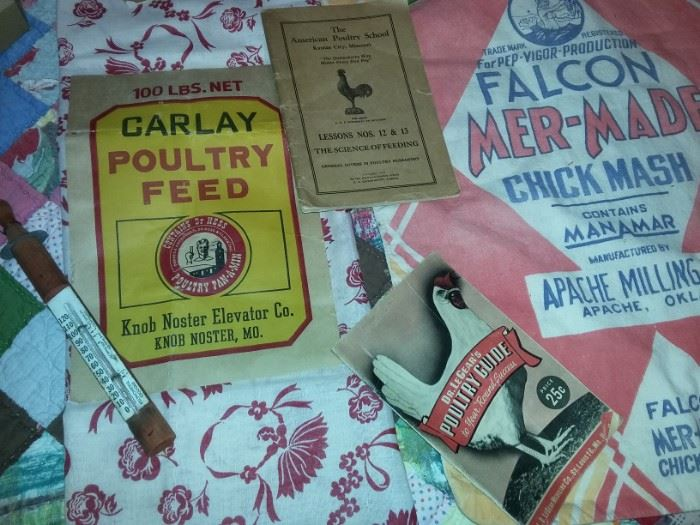 Feed Sack Fabric with original Carlay Poultry Feed label from Knob Noster Elevator Co.