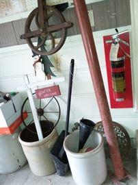 Vintage large old Pulley Crocks, cast iron wheels