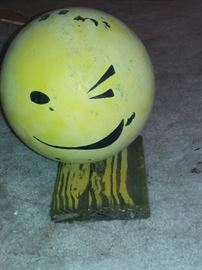 Here's lookin' at you, kid-repurposed bowling ball art