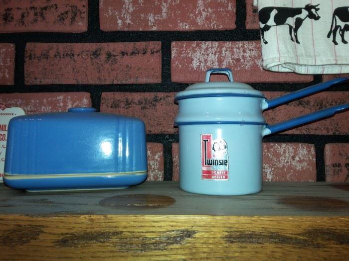 refrigerator butter, vintage mint Twinsie child's double boiler with original sticker