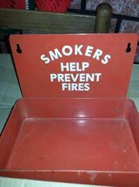 Smokers Help Prevent Fires metal ash tray shelf