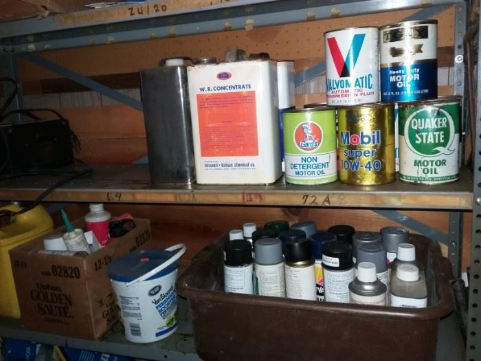 paints, oil cans, chemicals for shop & home