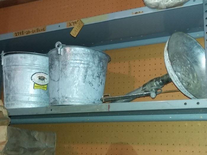 galvanized buckets, pails