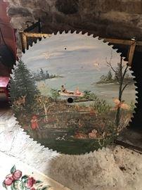 Large Vintage Painted Buzz Saw Circular Sawmill Blade