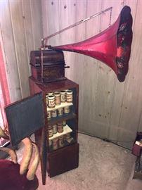 Antique Thomas Edison Phonograph w/ Morning Glory Horn~Many Cylinder Tubes