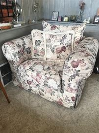 Floral Upholstered Over Stuffed Chair