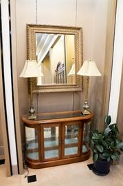 Nice short lighted curio - gorgeous mirror - lamps nice too!  Sweet set!