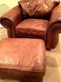 Super Comfy Leather Chair and Ottoman...
