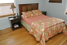 Full size Bed, Mattress and Headboard with Frame Nightstands
