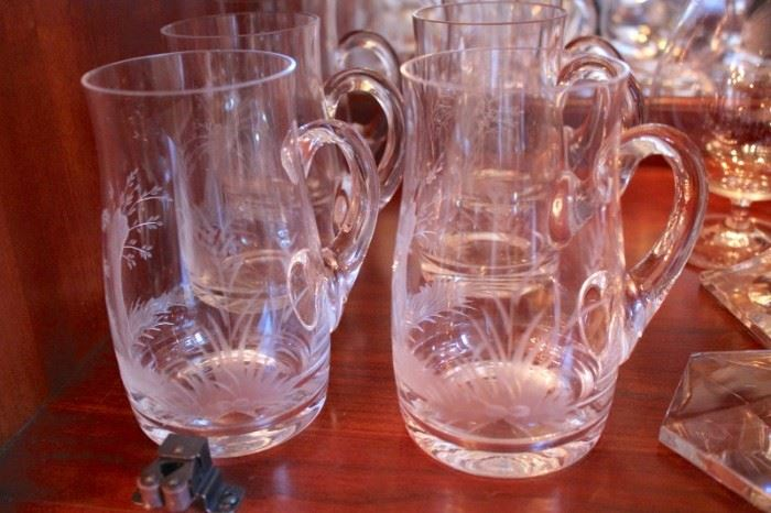 Antique Etched Moser Steins & Cordials