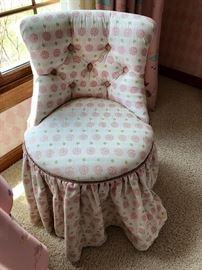 Custom made Girls boudoir chair.  We have a pair!