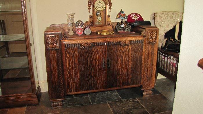 Antique Tiger Oak Bar Cabinet