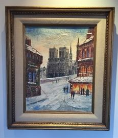 """Oil painting on canvas of Notre Dame (Paris) by P. Peiper, framed size 23.5"""" x 27.5"""", signed lower right"""