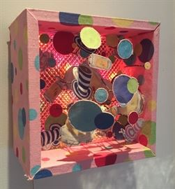 Lighted wall sculpture atttributed to 3-D Pop artist Charles Fazzino (unsigned)