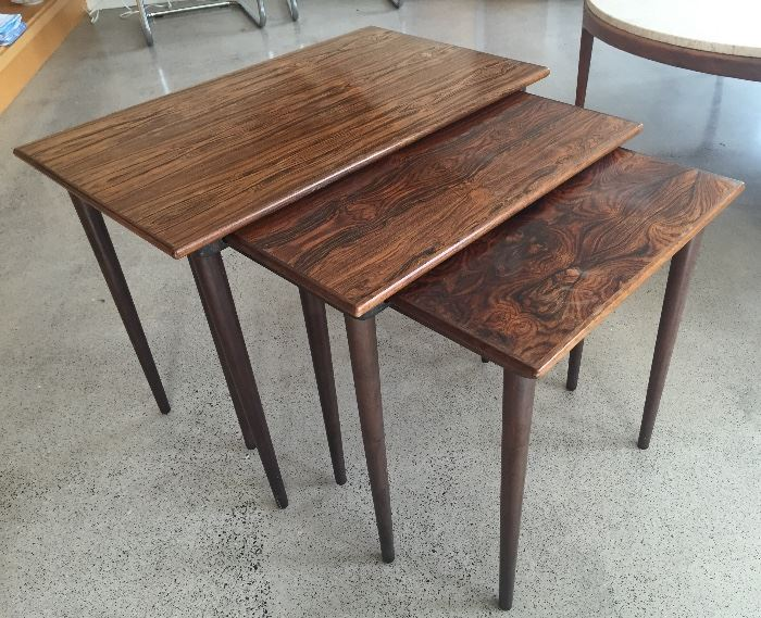 """Last minute addition from owner's storage: Set of 3 Westnofa rosewood veneer nesting tables (Norway) Largest table is 15"""" x 25"""" x 19""""H"""