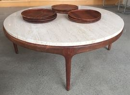 "Mid century marble top coffee table (36"" diameter, 14"" high)  + Hawaiian koa wood plates by Blair"