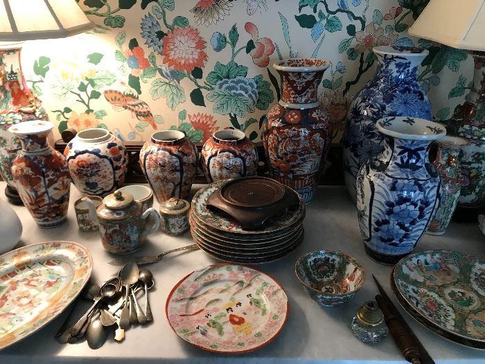 Large selection of Amari Rose Medallion China.