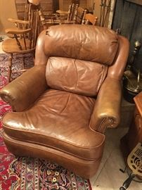 Leather with brass tack lounge chair