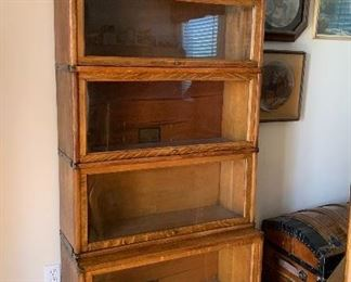 Globe Wernicke lawyer / barrister stacking bookcase tiger oak, unusually tall and narrow