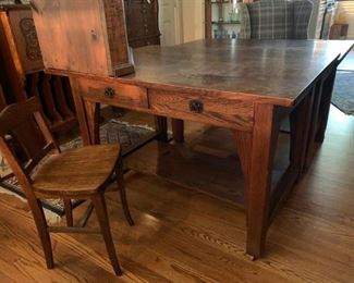 Limbert tiger oak library desk c1910, signed
